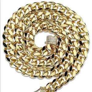 Other - 10MM 14K Gold Plated Miami Cuban Link Chain
